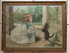 "SIGNED LITHOGRAPH A.W. ADAMS ""THE DANCING LESSON""  GIRL WITH CAT"