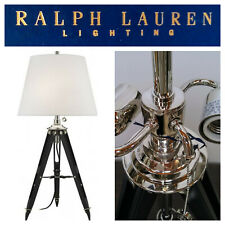 🆕Ralph Lauren Lighting Holden SURVEYORS TABLE LAMP Tripod Nickel LEATHER/WOOD