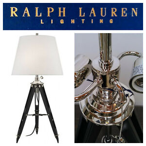 🆕Ralph Lauren Lighting Holden SURVEYORS TABLE LAMP Tripod Nickel LEATHER/WOOD