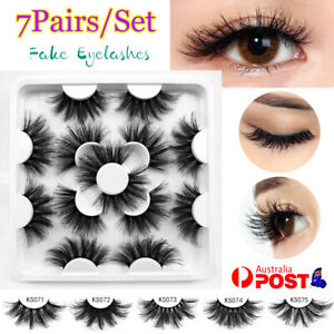 7 Pairs/set Natural Fake Lashes Set 3D Mixed Layered Long Soft False Eyelashes