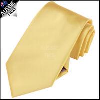 MENS LIGHT GOLD / YELLOW 8.5CM TIE necktie wedding plain formal