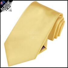 MENS LIGHT GOLD / YELLOW 8.5CM TIE necktie wedding plain formal