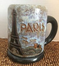 "Vintage DUBOIS Pottery Paris France Blue Brown Eiffel Tower MUG STEIN 5.5"""