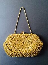 VINTAGE RETRO GOLD EMPIRE MAKE SEQUIN BEAD CHAIN EVENING BAG 1950s 1960s
