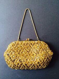 VINTAGE RETRO GOLD EMPIRE MAKE SEQUIN BEAD CHAIN EVENING BAG 1950s 1960s