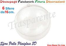 NATALE SFERA PALLA PLEXIGLASS 6 Pz. DIAM CM 16 DECOUPAGE PATCHWORK PITTURA