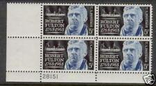 Scotts #1270 5c Robert Fulton Plate Block, Mnh