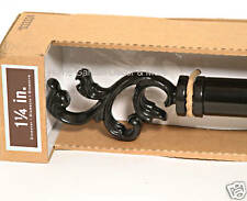 "1-1/4"" Metal Drapery Curtain Rod SET Black SCROLL Leaf Finial 36""-72"""