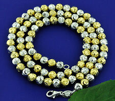 18K 2 tone GOLD BEAD NECKLACE CHAIN DIAMOND CUT 24.61 grams  made in italy