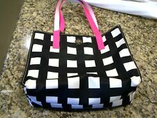 Kate Spade black & white checked purse/handbag with pink handles