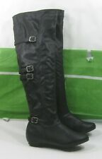 """New LADIES  Womens 1.5""""wedge heel Black Round Toe Over Knee Sexy Boots Size  8"""