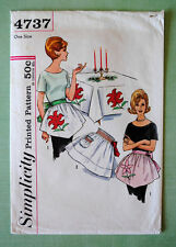 Vtg Christmas Apron Simplicity 4737 Pattern Poinsettia Applique for Embroidery