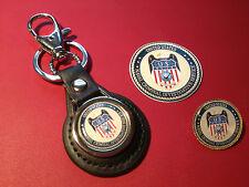 2# NCIS `NAVAL CRIMINAL INV. SERVICE:  LEATHER KEY RING, BADGE &  FREE   STICKER
