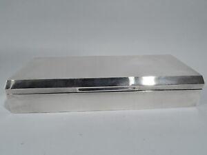 Elizabeth II Box - Art Deco Modern Desk - English Sterling Silver - 1953