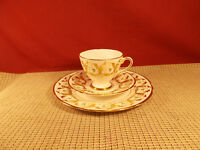 Gladstone Bone China Gold Scroll Design Trio Set, Cup, Saucer, Dessert Plate