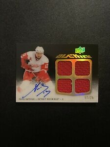 2009-10 UD Black Pavel Datsyuk Quad Game Used Jersey/Autograph /25