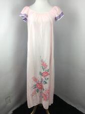 Vintage Miss Diva Gown Nightgown Sissy Lingerie sleepwear Nylon Pink Floral Sz M