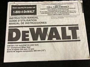 "DEWALT DW705 12"" COMPOUND MITER SAW INSTRUCTION MANUAL"