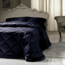 Elegante Trapunta Invernale Matrimoniale Raso di Cotone Lucido Blu Piumone FC