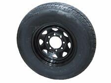 "235/80R16 LRE RN Radial Trailer Tire on 16"" 8 Lug Flat Black Spoke Trailer Wheel"