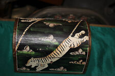 Vintage Hand Painted Wood Trinket Box-Painted Tigers Gazelle-Round Top-Small