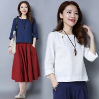 Women Ethnic Cotton Linen Shirt T-shirt Tops 3/4 Sleeve Solid Loose Plain Casual