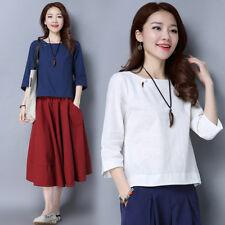 Women Ethnic Cotton Linen Shirt T-shirt Tops 3/4 Sleeve Solid Loose Plain Casual