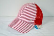 New $35 Penguin Menswear Red Stripe Seersucker Mesh Hat Adjustable PN0595 OSFA