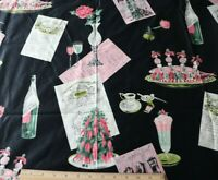 Vintage c1950s Waverly Chintz Fabric Yardage~French Restaurant & Food Themes