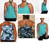 NWT Nike Tank Top Racerback 1X,2X,3X Plus Size blue DRI FIT Women's scoop J146