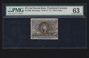 US 25c Fractional Currency Note Fiber Paper FR 1290 18-63-T-2 PMG 63 Ch CU (03)