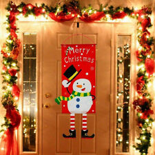 New listing Merry Christmas Xmas Snowman Banner Sign Flag Door Window Hanging Decoration Us