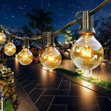 More details for 100ft outdoor globe garden festoon string lights 100 bulbs g40 mains powered uk