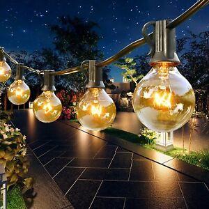 100FT Outdoor Globe Garden Festoon String Lights 100 Bulbs G40 Mains Powered UK