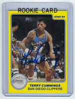 1983-84 CLIPPERS Terry Cummings signed ROOKIE card Star Co #1 AUTO RC BUCKS