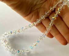 Unique Transparent Crystal Rainbow Ladies Bead Necklace 925 Sterling Catch