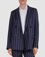 $984 Gerard Darel Women's Blue Striped Blazer Suit Jacket Size FR 38 US 6