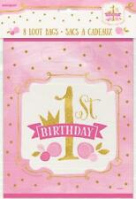 Party Supplies Girls 1st Birthday One Pink Gold Princess Loot Favor Treat Bags 8