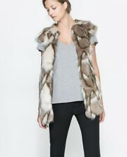 Zara Long Faux Fur Vest Waist Coat Jacket sz S Iro Marant Maje Wang