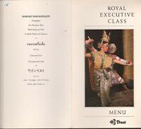 Vintage THAI AIRLINES First Class Menu Bangkok-Tokyo 1985