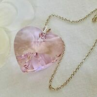 925 Silver Large 28mm Pink Heart Necklace Pendant Made With Swarovski® Crystals