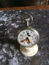 More details for rare vintage bradley mickey mouse pocket watch model number 90001 works