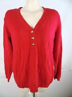 Charter Club Red V-Neck Long Sleeve Button Sweater Womens Plus Size 1X 14W 16W