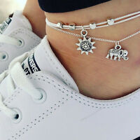 Fashion Men Silver Charm Elephant Pendant Chain Anklet Foot Chain Unisex Jewelry
