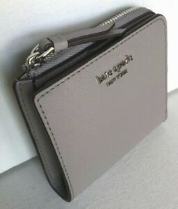New Kate Spade NY Cameron small L-zip Bifold wallet Leather Soft Taupe (Grey)