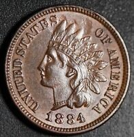 1884 INDIAN HEAD CENT - With LIBERTY & Near 4 DIAMONDS - AU UNC