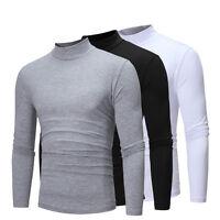 Homme Chaude Thermique Col Roulé Skivvy Pull Manches Longues Extensible T-Shirt
