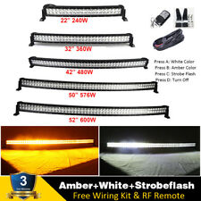 "Curved Amber/White/Strobeflash Led light Bar Offroad 22"" 32"" 42"" 50"" 52"" 600W"