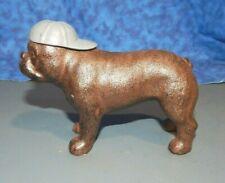 "Bulldog Pit Bull Dog Cast Iron Figurine Backwards Baseball Cap Paperweight 5"" Rb"