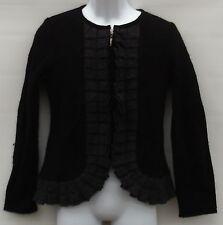 Women's Size Medium Sweater Cardigan Zip Pleated Details 100% Boiled Wool